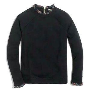 J Crew Woven Ruffle Neck Pullover Sweatshirt Sz XS